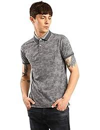Spunk by FBB Jacquard Polo T-Shirt Grey Melange