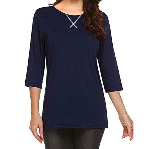Toamen Camicetta Manica Corta Moda Donna T-Shirt Manica Lunga Sette Quarti(Marina Militare,XL)