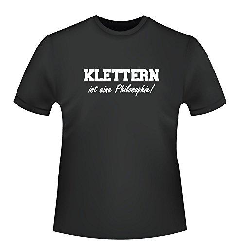 Klettern ist eine Philosophie!, Herren T-Shirt - Fairtrade - ID103709 Schwarz
