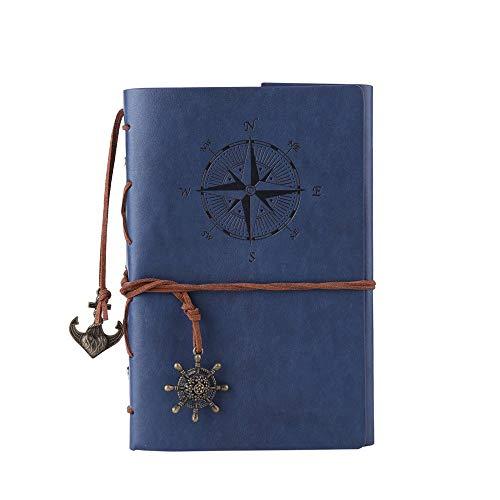 Gysad Vintage A5 Leder Tagebuch Notizbuch Schreibtagebuch Tagebuch Tagebuch Vintage Piraten Spirale blanko String Täglicher Notizblock unliniertes Papier Retro Anhänger klassisch geprägt dunkelblau -