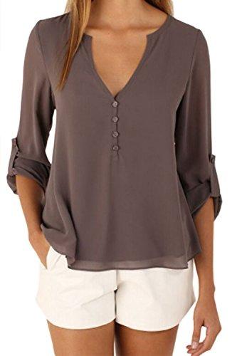 Frauen Mit Langen Ärmel Zurück Buttons / Hals Unregelmäßigen Chiffon - Bluse Top Und Größe Coffee XS (Unregelmäßigen Chiffon-bluse)