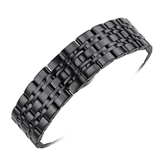 cinturini per orologi di lusso di metallo nero delle donne degli uomini 20mm inox sostituzioni cinghia fibbia di distribuzione d'argento con pulsante collegamenti rimovibili