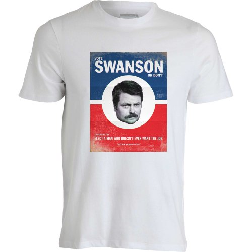 vote-ron-swanson-parks-and-recreation-election-swag-bacon-dope-white-men-t-shirt-homme-blanc-m