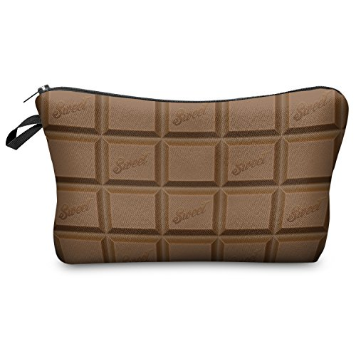 Fringoo Womens Girls Make Up Bag Wash Bag Toiletry Cosmetics Wallet Pencil Pen Holder Organiser Pouch Case (L22 x H14 x W8 cm, CHOCOLATE BAR)