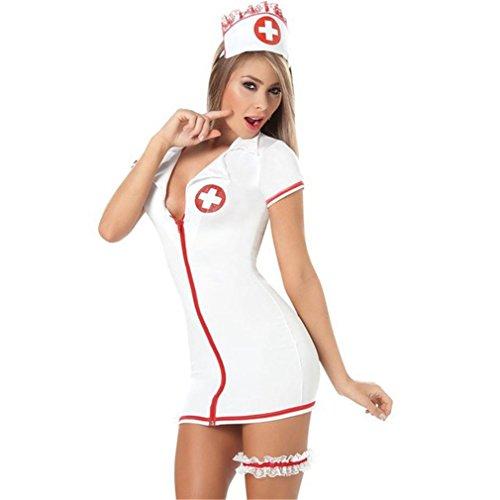 Boowhol Damen Lingerie Negligee Reizvolle Minirock Krankenschwester Cosplay Nachthemden Kostüm mit (Neckholder Sexy Kostüme Krankenschwester Kleid)