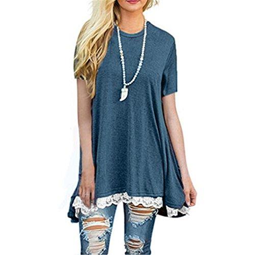 MOIKA Damen T-Shirt, 2018 New Mode Womens Ladies Casual Lace Hem Spitze Irregulär Dekoration Short Sleeve O-Ausschnitt Shirt Pullover Tops Pure Color Loose Blouse (S, Marine) (Aktuelle Beleuchtung)