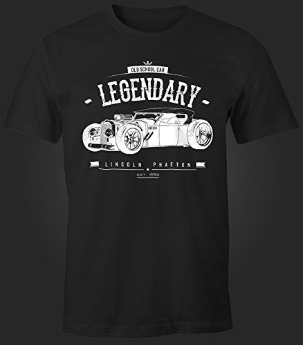 Herren T-Shirt, Hot Rod Retro Auto Car Oldschool Rockabilly, Fun-Shirt Moonworks® Schwarz