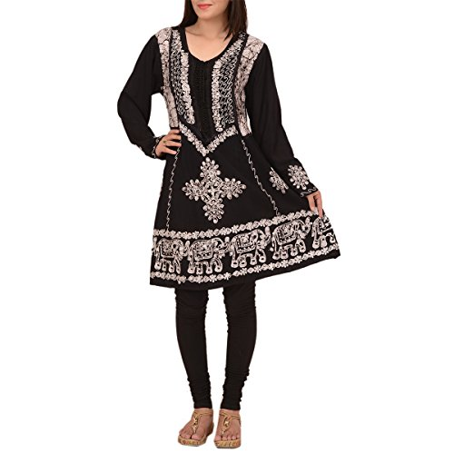 Skirts & Scarves Rayon Long Sleeve embroidered Indian Short Kurtis For Women (Grey)