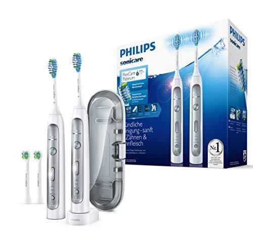 Philips Sonicare FlexCare Platinum 2 Elektrische Zahnbürsten HX9114/37 im Set - 2 Handstücke, 4 Bürstenköpfe, Drucksensor, 3 Putzprogramme, 3 Intensitäten, Timer & Etui – Weiß
