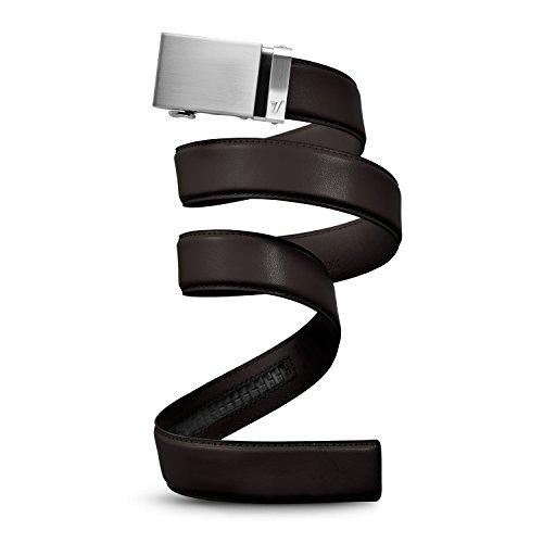 Mission Belt Men's Ratchet Belt - Steel - Steel Buckle / Dark Brown Leather, Large (36 - 38)