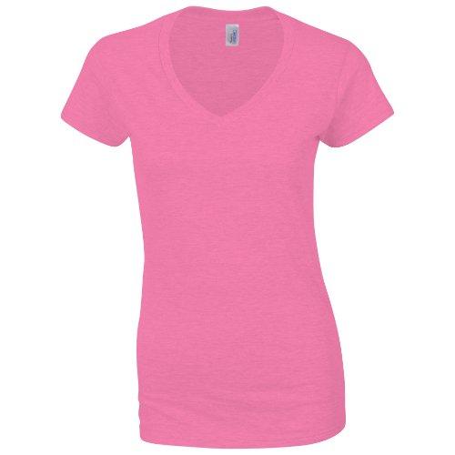 Gildan Damen Kurzarm T-Shirt mit V-Ausschnitt (2XL) (Rosa) XXL,Rosa (Gerippter V-neck-shirt)
