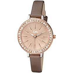 Limit Women's Quartz Watch with Rose Gold Dial Analogue Display and Brown PU Strap 6085.01
