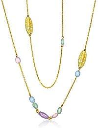 Bling Jewelry Teñidos de Blanco Jade Piedra Amatista Moderno largo collar chapado en oro