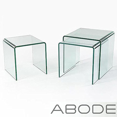Solitaire Clear Glass Nest Of Tables, SOL-0043