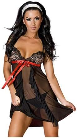 Slip noir et buste String Set Parsemé de Diamante et ruban rouge Trim, tailles 36-38.
