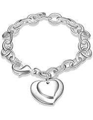 NYKKOLA Pulsera para mujer con colgante, diseño de corazón doble, bañada en plata de ley 925
