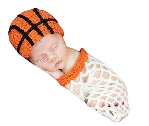 Kostüm Für Basketball Jungen - DELEY Baby Jungen Häkeln Basketball und Korb Hut Schlafsack Set Baby Kleidung Outfit Kostüm Foto Requisiten 0-6 Monate