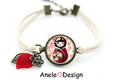 Bracelet * Matriochka Kawaii * kokeshi baby dormeuse cabochon enfant fille verre rouge noir