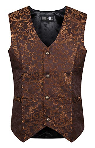 Ro Rox Chaleco Brocado Formal para Hombres de Gótico Steampunk Marrón (Small)