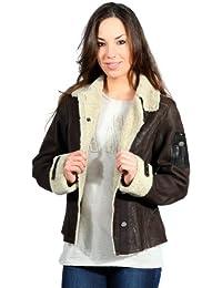 Aeronautica Militare Ladies Leather Jacket Aviator marron fonce PN228D1872