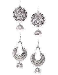Zaveri Pearls Combo Of 2 Antique Silver Tone Dangle With Jhumki Drop Earring-ZPFK6791