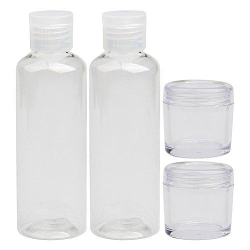 ofoen Travel Flasche Set, transparent Kunststoff Toilettenartikel Liquid Container 2* Reise Flaschen & 2* Creme Gläser (4Stück) Flughafen Sicherheit geprüft weiß 5 Creamer