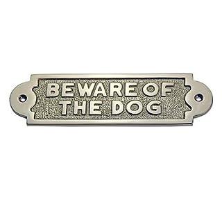 ADONAI Hardware BEWARE OF THE DOG Messing Türschild-Satin Nickel