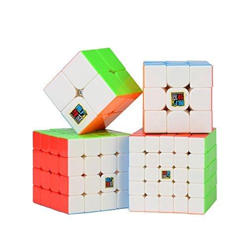 Roxenda Set di Cubi di velocità, Set di Magic Cube di 2x2x2 3x3x3 4x4x4 5x5x5 velocità Puzzle cubo (2X2 3X3 4X4 5X5)