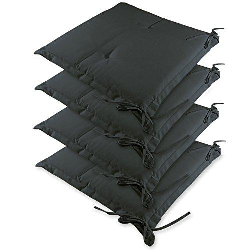 Detex® Stuhlauflagen Sydney | 4er Set Wasserabweisend | Kissen Sitzkissen Stuhlkissen Auflage Sitzauflage anthrazit