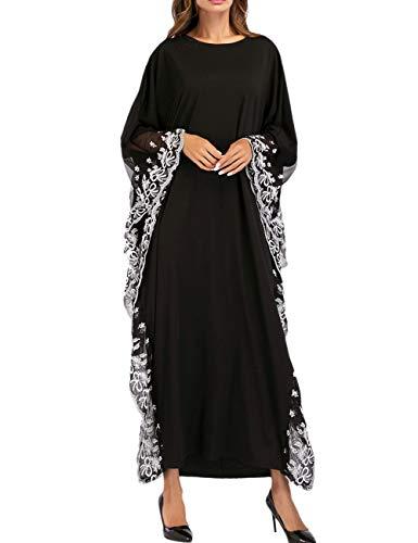 besbomig Muslime Lange Maxi Abaya Kleider Flügelhülse mit Spitzenbesatz - Kaftan In Voller Länge Arabisch Konservativer Stil Abend ()