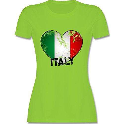 EM 2016 - Frankreich - Italien Herz Vintage - tailliertes Premium T-Shirt mit Rundhalsausschnitt für Damen Hellgrün