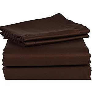 500TC 100% Egyptian Cotton Chocolate Solid Brand New 1 PC Bed Sheet, King