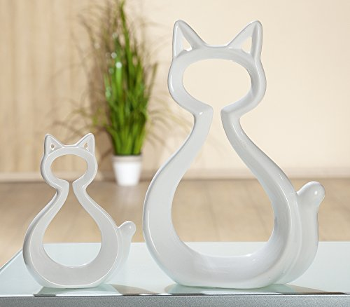 1 x Katze Frame Keramik weiß glasiert Höhe 27 cm, Tierfigur, Figur, Cat (groß Höhe 27 cm (Stückpreis)) (Katze Keramik Glasiert Figur)