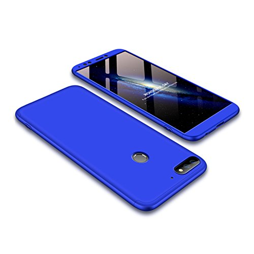 Ququcheng Huawei Y7 2018/Honor 7C Hülle,Huawei Y7 2018/Honor 7C Schutzhülle[Mit Displayschutz] 3 in 1 Ultra dünn Hard Shell Case 360 Grad Handyhülle Cover für Huawei Y7 2018/Honor 7C-Blau