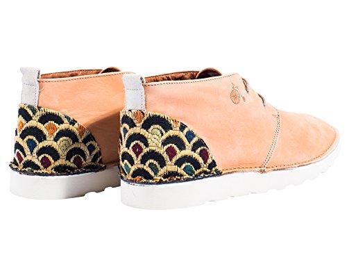 Mondrian - Dèsert chaussures ou dèsert booty avec décoration spéciale sur le talon de l'art japonais - Hommes Orange clair