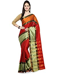 Womanista Women's Cotton Blend Sari With Blouse Piece(FSP428_Beige, Red And Orange_Free Size)