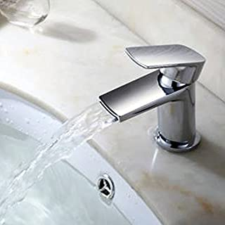 Alfred Victoria Modern Mono Basin Mixer Brass Tap With Sprung Waste QX05 - Chrome Finish