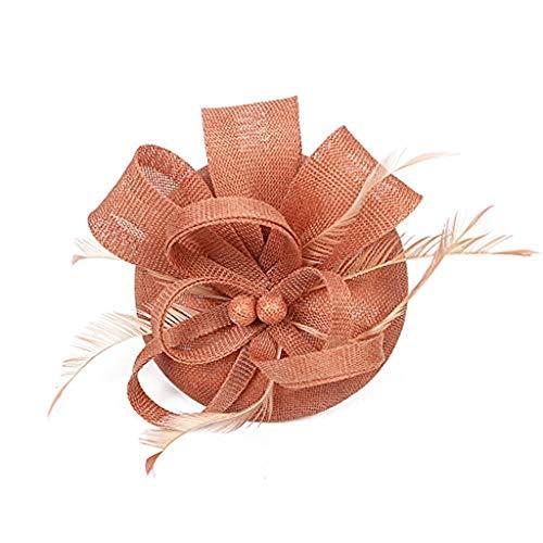 Beonzale Faszinator Kopfschmuck Elegant Flapper Stirnband Handgemachte Frauen Haarspange Feder Hochzeit Casual Fascinator Kopfschmuck Hut für Mädchen (Mädchen Cowboy-hut Rosa)