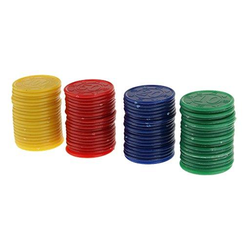 80 Fiches Da Poker In Plastica - Rosso Verde Giallo Blu