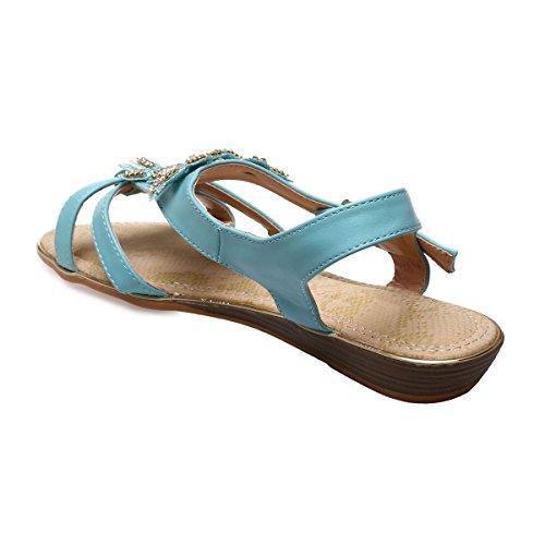La Modeuse - Sandales grandes tailles aspect cuir Vert clair