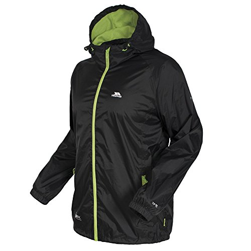 Trespass Mens Women Qikpac Packaway Waterproof Breathable Jacket Black Black