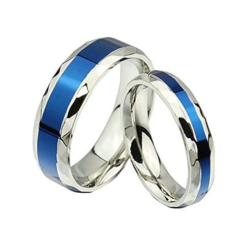 Ringe mit Gravur Name Damen Herren Jahrstag Ringe Edelstahl Blau Silber Ringe 4MM,6MM Damen 52(16.6) & Herren 57(18.1)