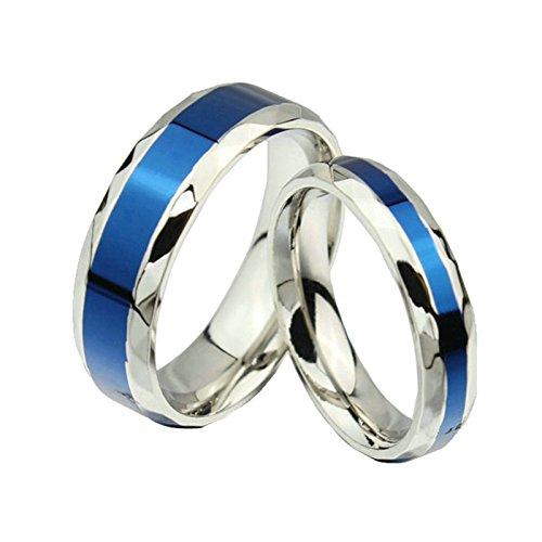 Amody 1 Paar Edelstahl Herren Damen Paar Jubiläum Valentine Ring Versprechen Engagement Ehering Silber Blau 6MM Mens 4MM Womens Band Ringe Frauen 49 (15.6) & Männer 67 (21.3) (Für Ringe Paare Batman)