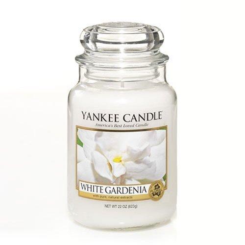 Yankee candle 1230624E White Gardenia Candele in giara grande, Vetro, Bianco, 10.1x9.8x17.5 cm