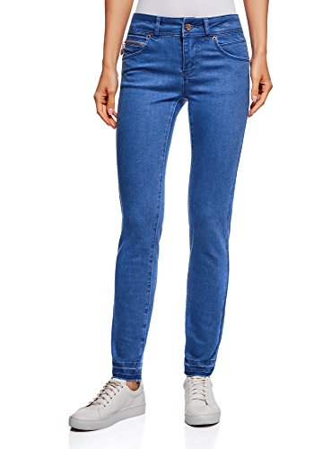 Oodji ultra donna jeans skinny push-up con orlo grezzo, blu, 29w / 32l (it 46 / eu 42 / l)