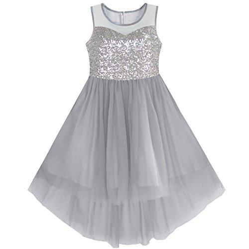 Mädchen Kleid Grau Sequined Tüll Hallo-lo Hochzeit Kleiden Gr. 116