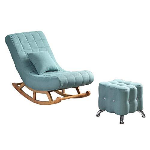 YQQ-Faules Sofa Bequem Entspannen Schaukelstuhl Recliner Lounge-Sessel Einzelsofa Freizeit Nickerchen Schaukelstuhl Balkonstuhl Mit Fußschemel (Color : Blue) -