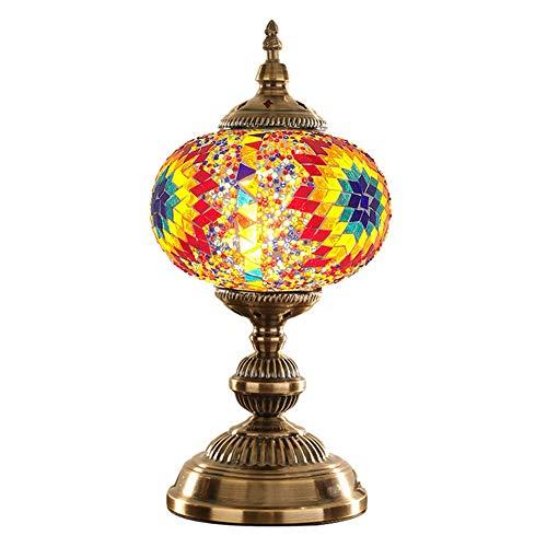 Marokkanische Schlafzimmer Dekor (MAGICE Farbiges Glas Schreibtischlampe - Handgemachte Mosaiklichter Authentische türkische Lampen marokkanisch Ottomane Tischlampe für Schlafzimmer Wohnzimmer Kinderzimmer Dekor,C)