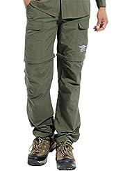 Hilarocky Pantalones Hombres Largo / Corto Impermeable Senderismo Táctico Camuflaje Secado Rápido Fino y Transpirable para Primavera y Verano Verde L