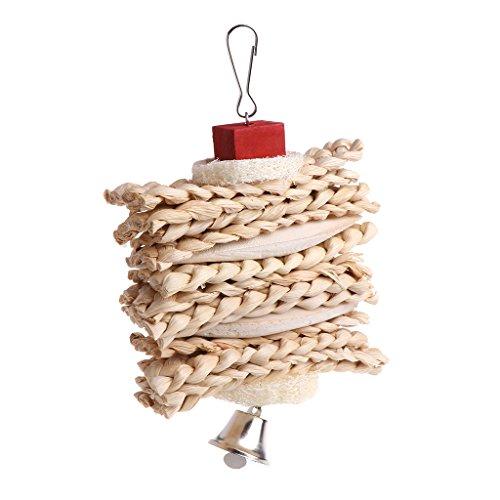yintiod Vogelkäfig, hängendes Spielzeug zum Aufhängen, Luffa, Schwamm, Kauspielzeug mit Glocke